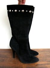 GUESS STUDDED BLACK GENUINE LEATHER SUEDE ROUND TOE HIGH HEEL BOOTS SHOES 10M