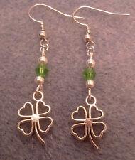 Handmade tibetan silver four leaf clover shamrock earrings mum nan sister aunt