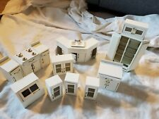 White Wood Doll House Kitchen/Bathroom Cabinets- Lot of 14