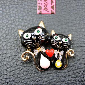 New Fashion Cute Bow Heart Cat Black Enamel Crystal Betsey Johnson Brooch Pin
