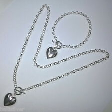 Sterling Silver 925 Rolo Chain Toggle Clasp NECKLACE and BRACELET with Heart Set