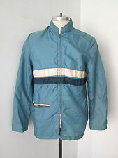 Vtg 1970's blue nylon racing stripe zip moto jacket banded collar M