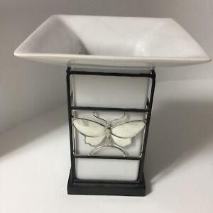 Metal Enesco Vase Holder Butterfly Design Square White Glass Vase Philippine