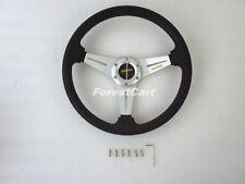 "14"" Sliver-Black PU Al Racing UTV Steering Wheel & Horn,Golf Cart EZGO CLUBCAR"