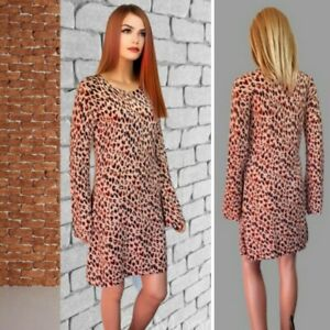 OASIS DRESS SIZE 12 BROWN MIX PRINT FLARED LONG SLEEVE KNIT OVER KNEE SHIFT#35