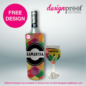 Personalised Wine Set - 1 x Glass Coolers & 1 x Bottle Cooler Set - WOW!