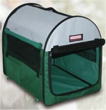"27"" Pet Carrier Travel Bag Crate Tent Cage Folding w/Case Green Beige Dog Cat"