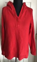 Christopher & Banks Red Hooded Long Sleeve Sweater Women's Size S