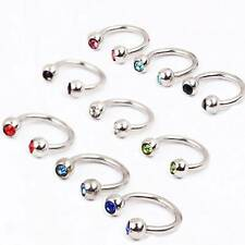 10Pcs 16G Horseshoe Septum Earrings Tragus Lip Nose Eyebrow Body Piercing Ring