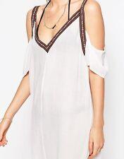 Liquorish Womens Cold Shoulder Mini Beach Dress Trim Size M/L BNWT RRP £60 White