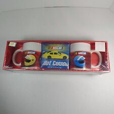 2 NEW Coffee Mugs Cups NASCAR Official Gift Set FLAT-OUT Hot Cocoa Collectors
