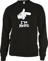 Cartoon Hands I'm Hers Relationship Love Funny Couples  Long Sleeve Thermal
