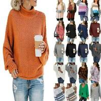 Womens Knitted Sweater Pullover Winter Warm Baggy T-Shirt Long Sleeve Jumper Top