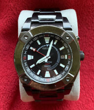 SEIKO KINETIC GMT MEN'S WATCH ALL S/S IP BLACK