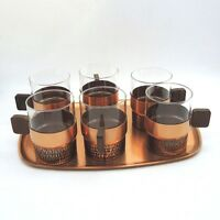 60er Jahre Klassiker 6 x Jena Teeglas Tablett Grog Glühwein massiv Messing Glas