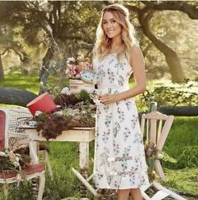 "NWT Lauren Conrad Disney ""Alice in Wonderland"" White Floral Dress Large Pink New"