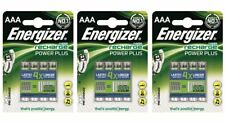 12 x Energizer AAA Rechargeable Power Plus Batteries mAh NiMH 700mAh LR03 HR03