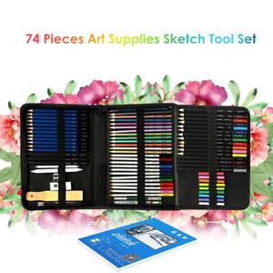 74Pcs Art Drawing Pencil Sets Colored Sketch Pencil Painting Oil Pencil Sketch