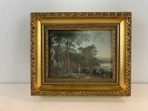 "Antique After John Both Colored Etching ""Landscape with Figures"" Framed 1834"
