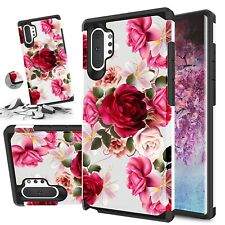 """Red Floral Shockproof Dual Layer Phone Case For Samsung Galaxy Note 10 Plus 6.8"""""""