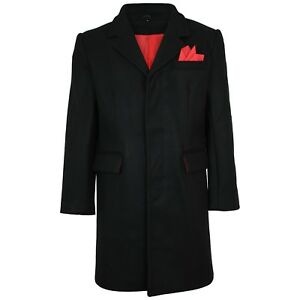 Relco Mens Crombie Styled Mod Coat/Overcoat With Red Lining 80% Wool Original