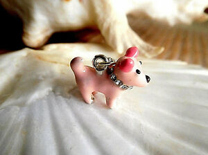 Charm Anhänger Hund rosa 3D Emaille Strass massiv Karabinerhaken für Armband