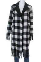 Sosken Womens Wool Fringe Plaid Jasmin Jacket Black White Size 0