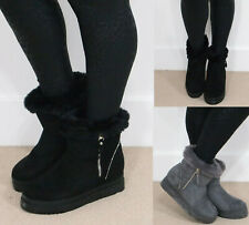 Ladies Womens Flat Warm Winter Ankle Fur Lined Snugg Hug Snow Boots Shoes Size