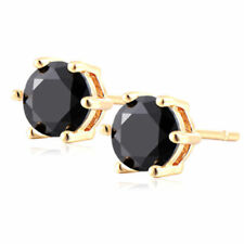 Pretty New Yellow Gold Filled 6 Prong Set 6mm Black Onyx Round CZ Stud Earrings