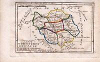 Carte géographique XVIIIe Aube 1798 Chefs Lieux du Département Tardieu