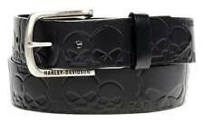Harley-Davidson Men's Muscle Up Skull Belt Black Leather HDMBT10614