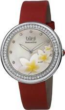 Burgi BUR116RD Crystal Bezel Diamond Markers MOP Flower Dial Red Womens Watch