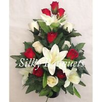 Artificial Silk Flower Grave Pot Arrangement Flat Back Rose Lily Traditional