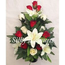 Christmas Artificial Silk Flower Grave Crem Pot Arrangement Flat Back Rose Lily