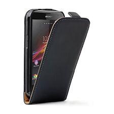 Ultra Slim Cuero Negro Funda Bolsa Para Sony Xperia Z3 Compacto d5803 d5833