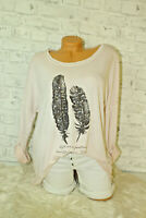 Italy New Shirt Pulli Gr. 36 38 40 42 Oversized Feder rosa Vintage blogger