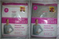 womens thermal top long sleeve crewneck WHITE GRAY Gildan underwear S,M,L C17