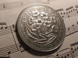 BAHAMAS $10 1975-FM KM76 Copper-Nickel Specimen 3-yr type Minted 5,325 VERY RARE