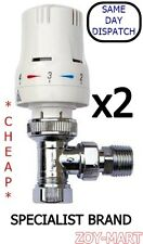 "x2 THERMOSTATIC RADIATOR VALVES 15mm x 1/2"" *INCLUDING REDUCING KIT* *CHEAP*"