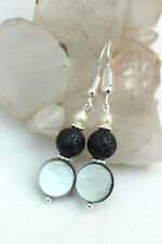 BLACK Volcanic LAVA & MOTHER of PEARL Bead DROP EARRINGS 925 Silver Hook Fit