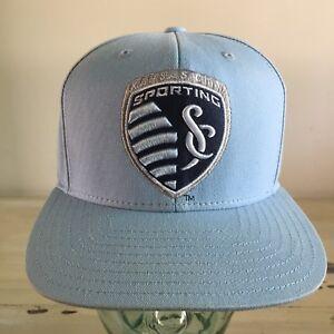 SPORTING KC: KANSAS CITY Light Blue Adidas SnapBack Flat Bill Soccer MLS Hat Cap
