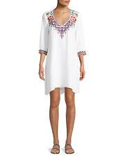 NWT Johnny Was Workshop Pratt Drape Shift Embroidered Boho Dress Sz L $238 WHITE