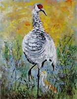 YARY DLUHOS ORIGINAL ART OIL PAINTING Wildlife Bird Sandhill Crane Nature Animal