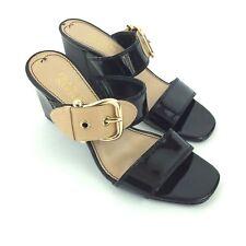 9b9900de82b04 Franco Sarto Black Tan Patent Leather Slide On Heel Sandals Womens 7M LOVELY