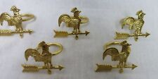 Rooster Weather Vain Napkin Rings Gold Tone Set of 5 EUC