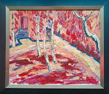 Michael Feicht *1959:  Expressionismus Garten mit Birken 1994 Öl 50 x 60 cm