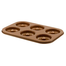 Non-Stick Carbon Steel 6-Cavity Donut Maker Mold Pan Baking Tray in Copper