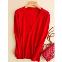 100% Cashmere Wool Knit Jacket Women Lady Outwear Sweater V-neck Jumper Cardigan