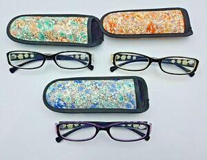 Ladies Readers Specs Reading Glasses Floral Case
