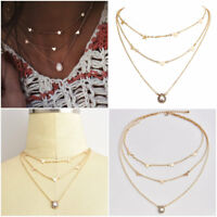 Fashion Multilayer Choker Necklace Star Heart Chain Crystal Women Summer Jewelry